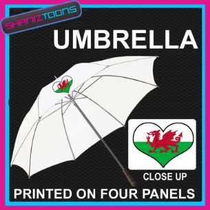"WALES WELSH LOVE HEART FLAG WHITE 30"" UMBRELLA LONG HANDLE"